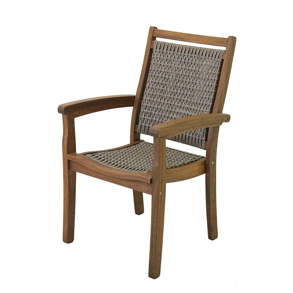 Grey wicker and brown eucalyptus arm chair.