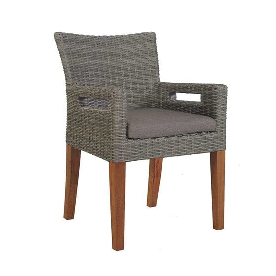 Grey wicker chair with cushion and brown eucalyptus legs.