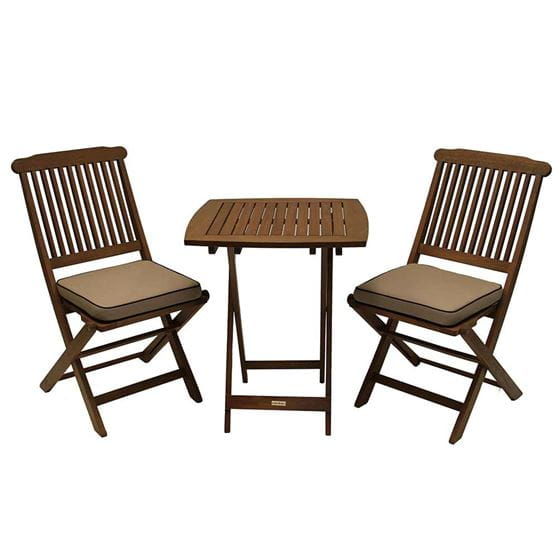 Two brown eucalyptus chairs and cushions with a brown eucalyptus table.