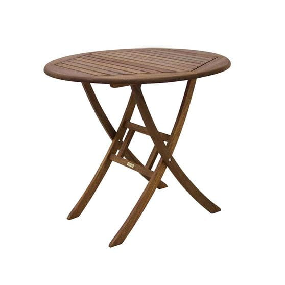 30 inch brown eucalyptus folding bistro table.