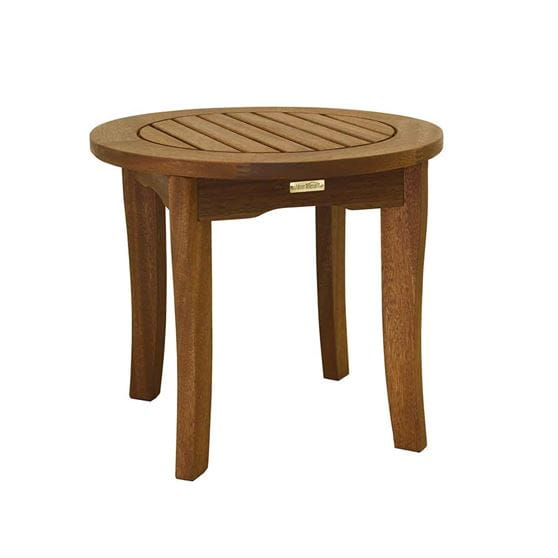 Brown round eucalyptus side table.