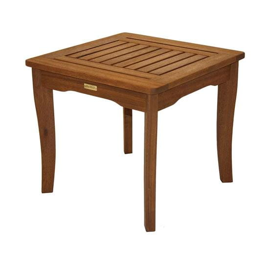 Square brown eucalyptus side table.