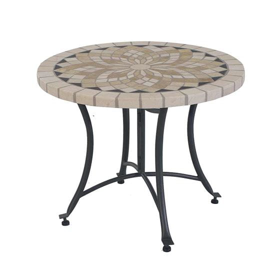 24 inch tan,black,white marble mosaic accent table.