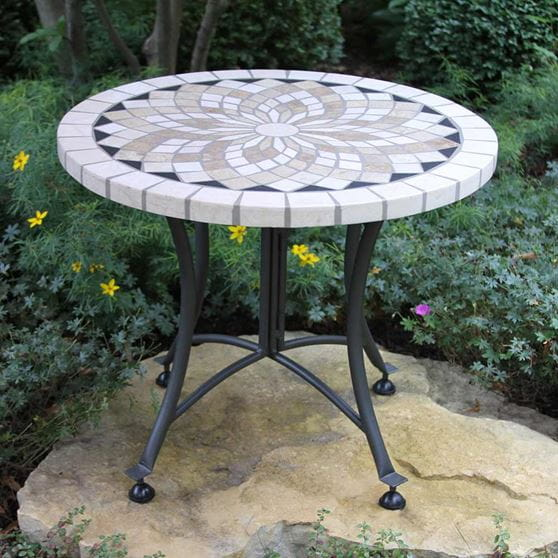Round 24 In Stone Mosaic Outdoor Table, 24 Inch Round Table