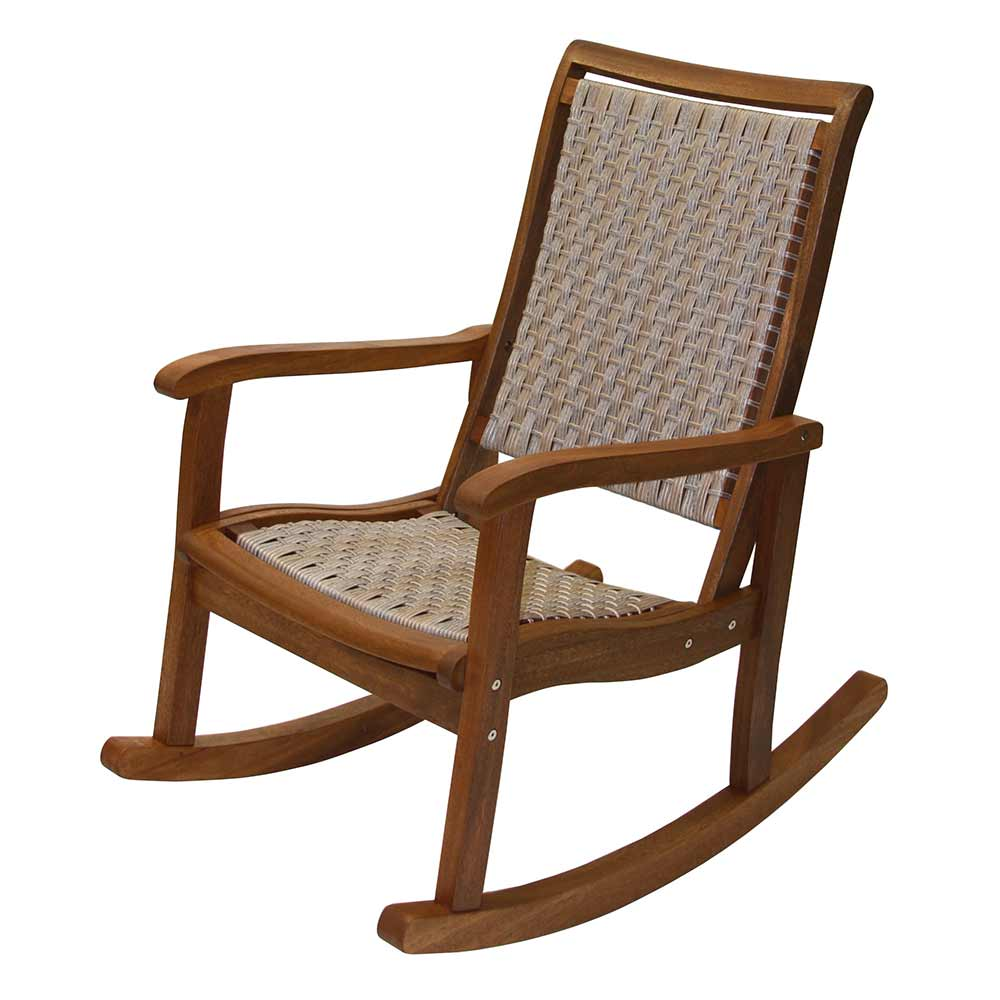 Ash wicker and brown eucalyptus rocking chair.