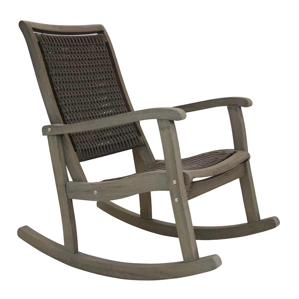 Grey wash wicker rocking chair.