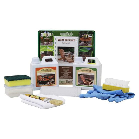 Wood furniture care kit including sponge, cloths, brush, gloves and bottles.