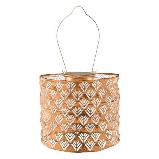 copper drum solar lantern on white background