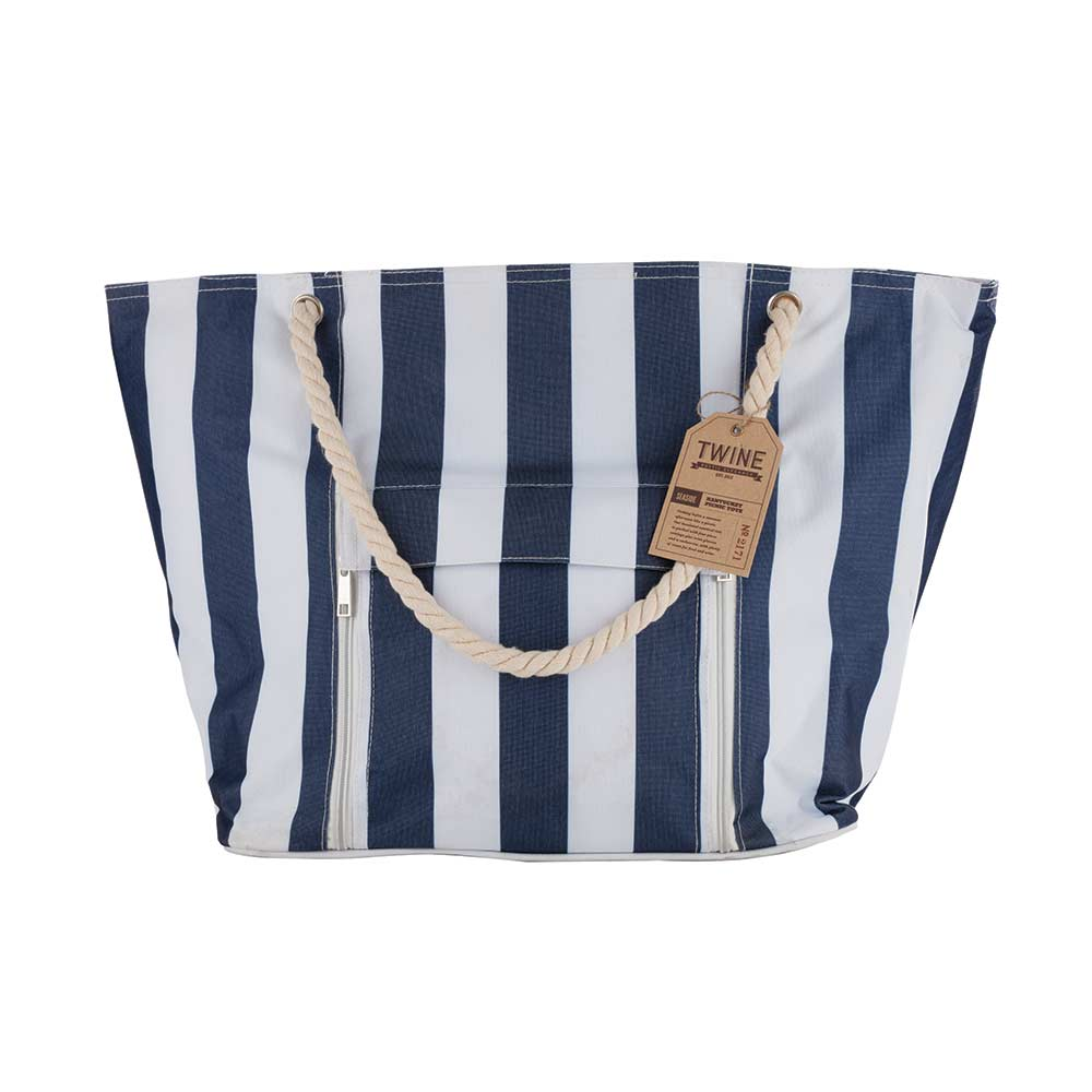 Seaside nantucket insulated picnic tote with tag and white background