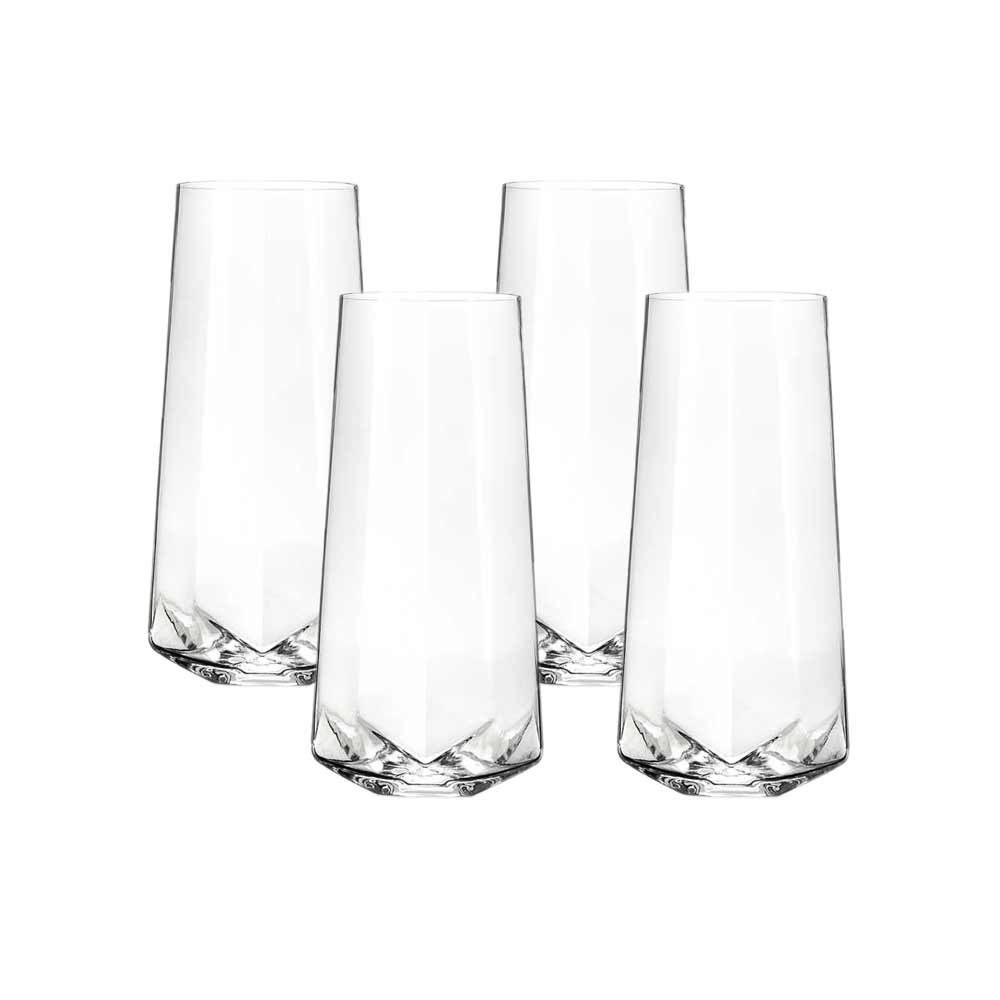 Four faceted crystal champagne glasses