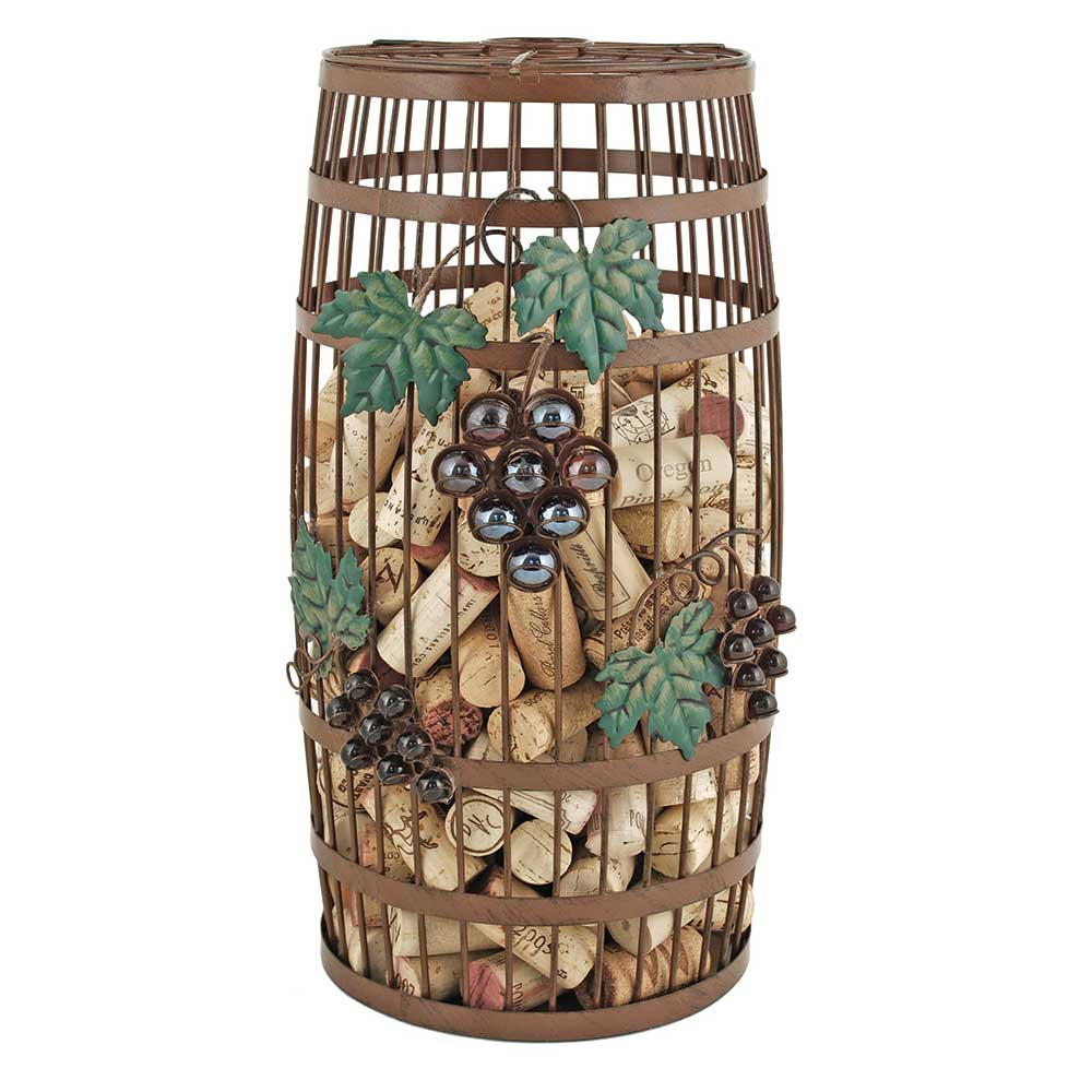 Grapevine barrel cork holder full of corks, with a white background