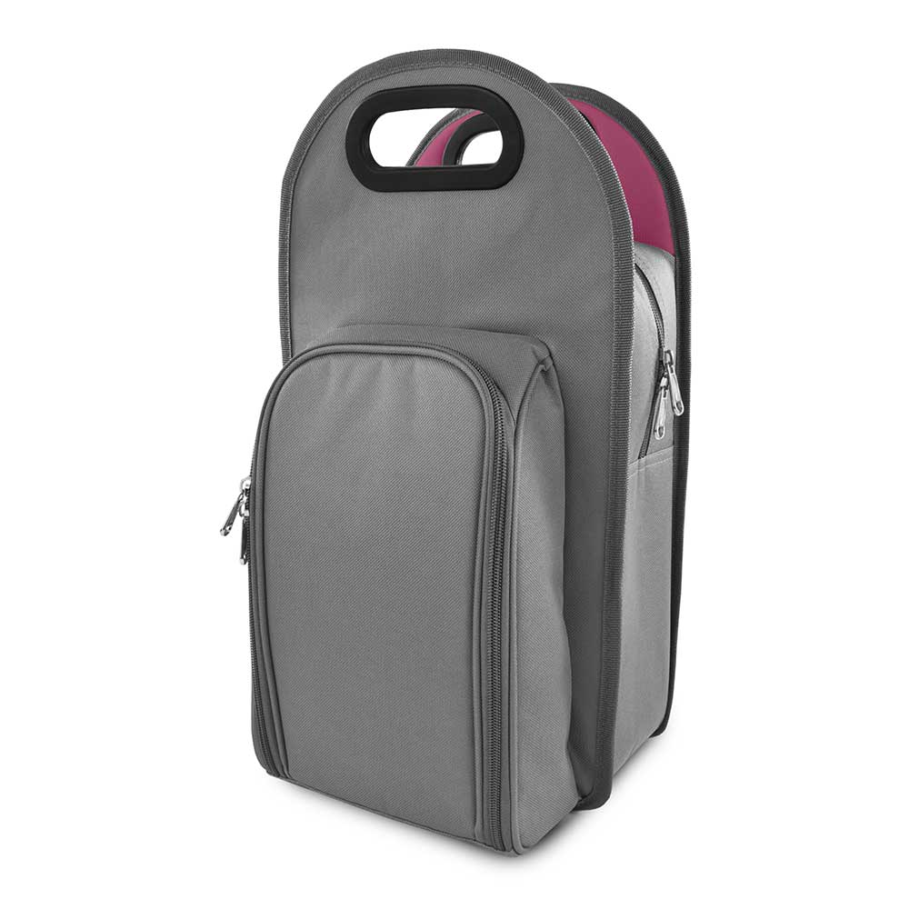Gray metropolitan 2-bottle tote with a white background