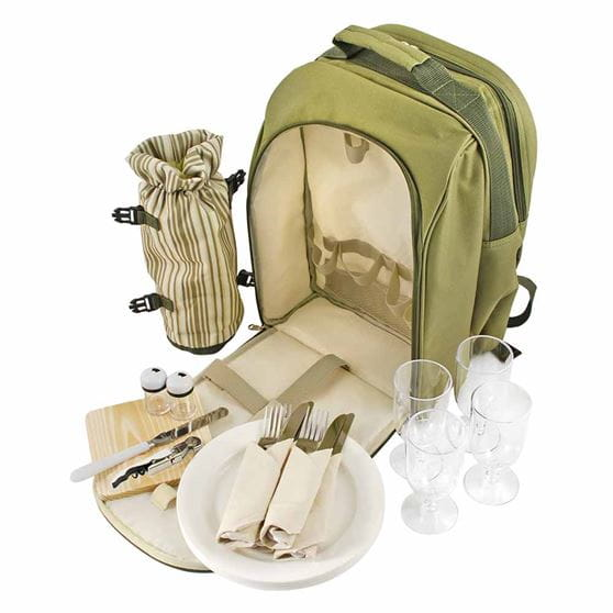 Four person picnic backpack with front flap unzipped and all of the contents out of the backpack