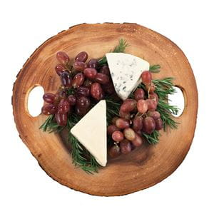 Acacia wood cheese board with food contents