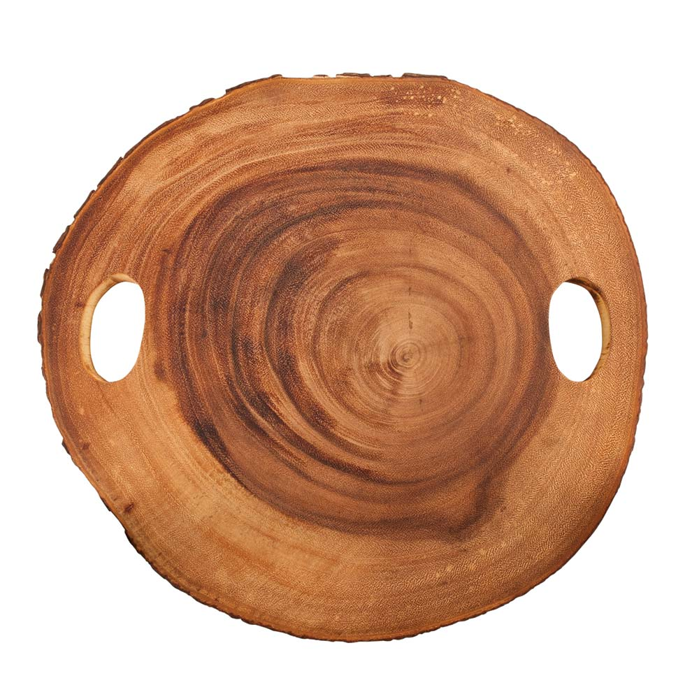 Acacia wood cheese board top view with white background