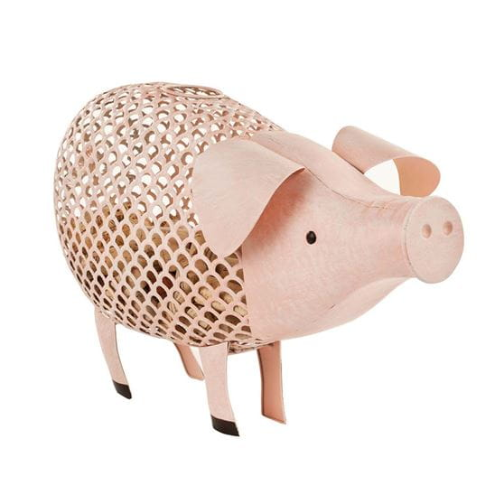 Pig cork holder with corks inside on a white background