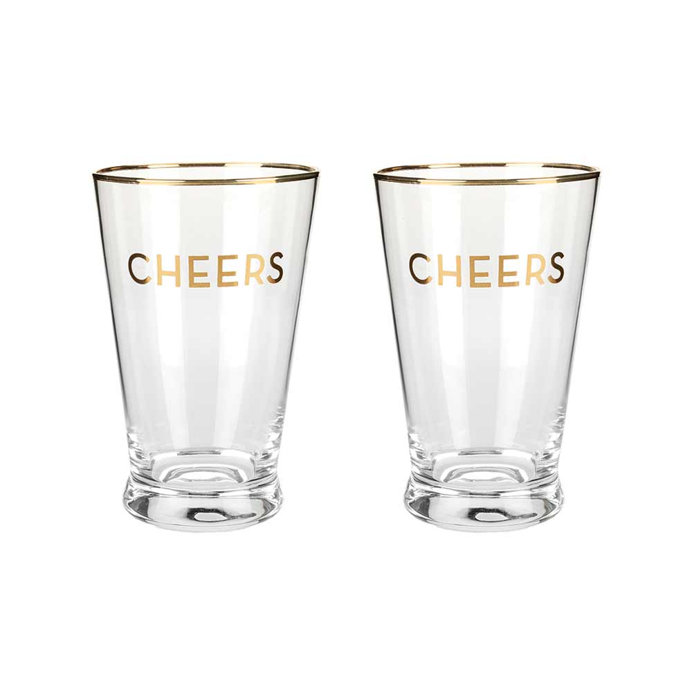 Two gold rimmed cheers pint glasses