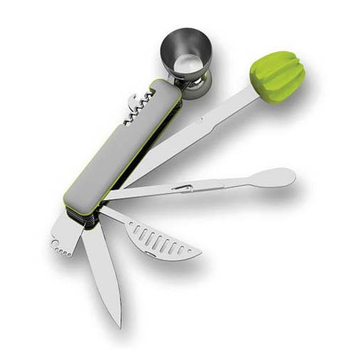 Lime ten in one bar tool with a white background