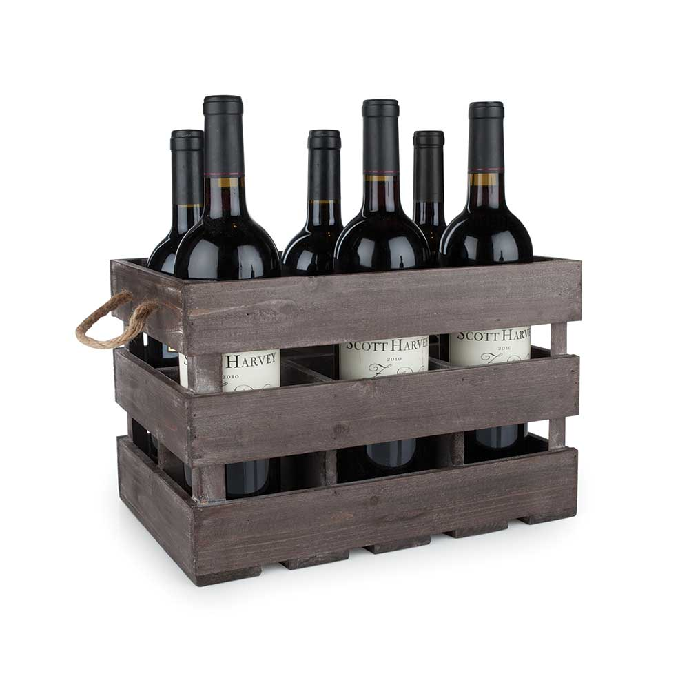 Wooden 6-bottle crate with wine bottles inside