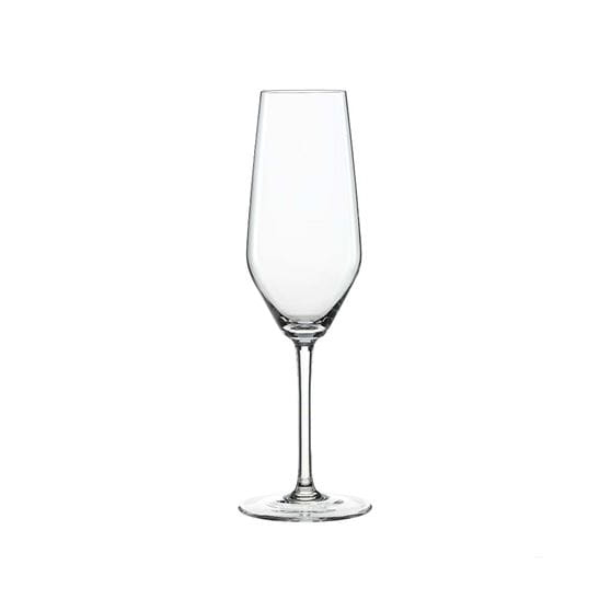 Champagne flute with a white background