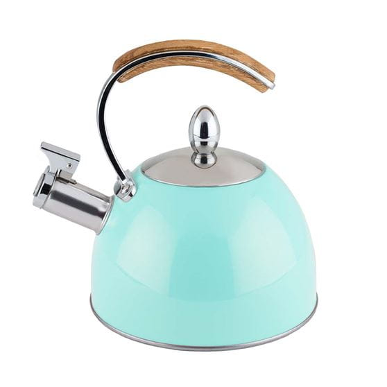 Light blue tea kettle with white background