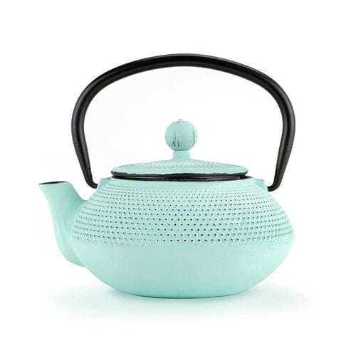 Light blue cast iron teapot with white background
