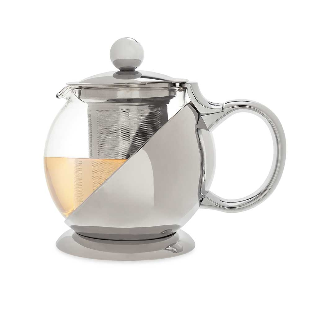 Shelby stainless steel wrapped teapot and infuser