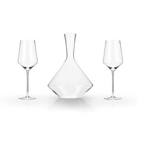 Wine glass and decanter 3-piece gift set with white background