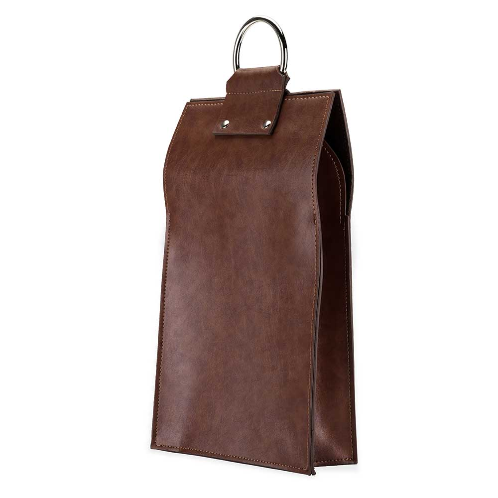 Faux leather double bottle brown wine tote