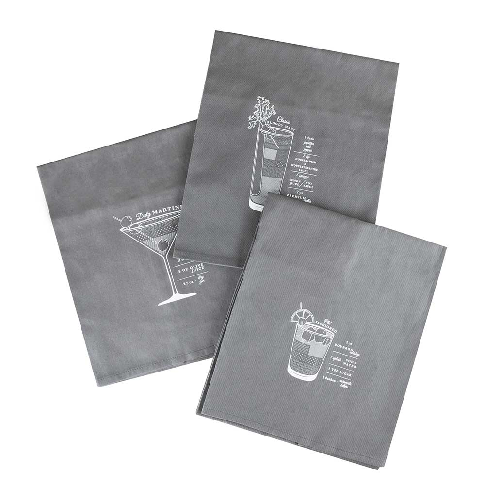Three bar cart cocktail towels with a white background