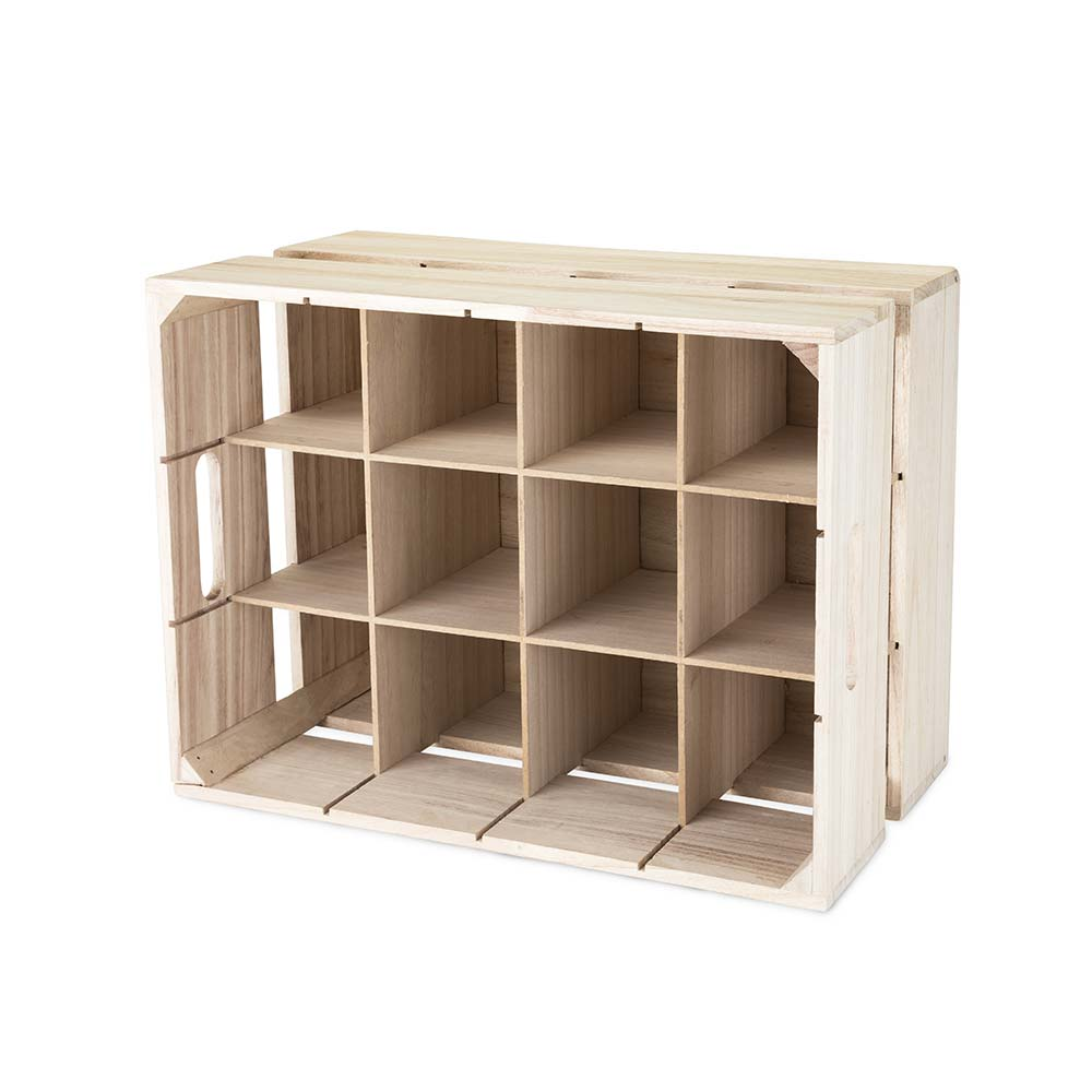 Wooden crate wine rack with a white background