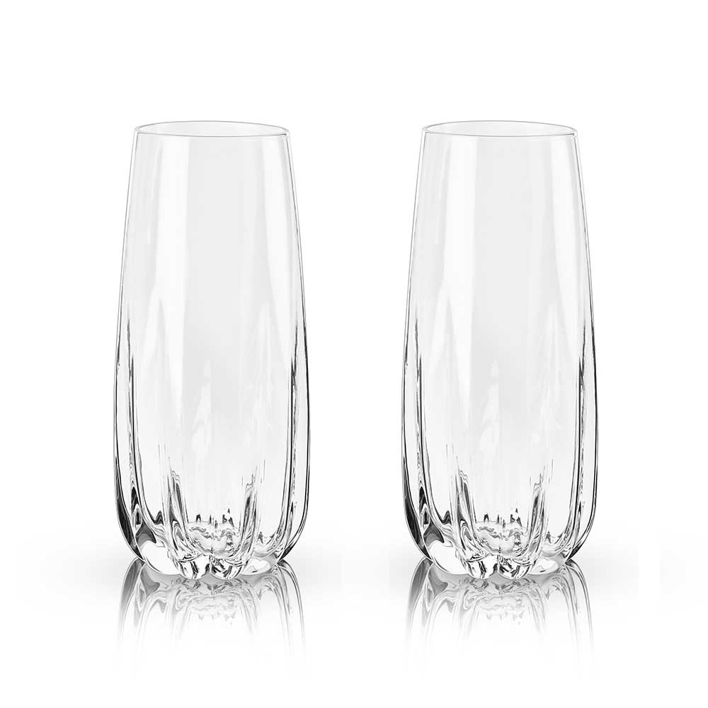 Crystal cactus champagne flutes