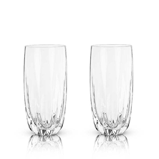 Two cactus crystal highball glasses with a white background