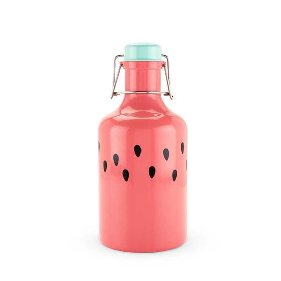 Watermelon growler with a white background