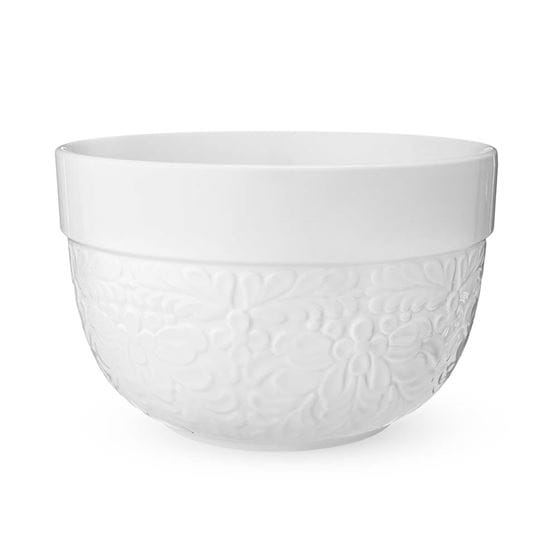 Floral textured ceramic five quart mixing bowl