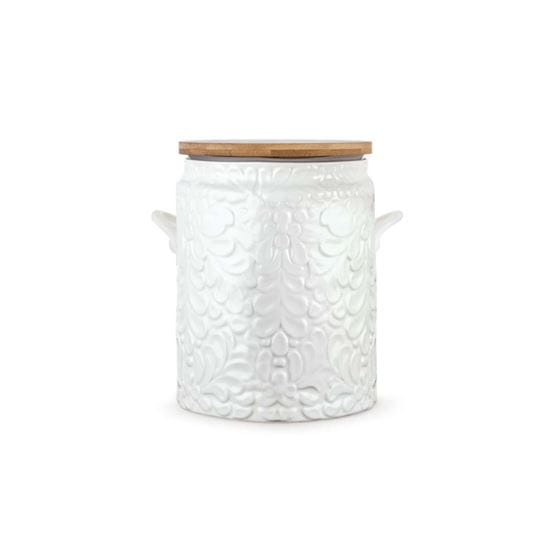 Closed ceramix cookie jar with white background