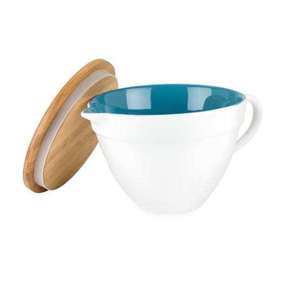 Ceramic batter bowl with lid with white background