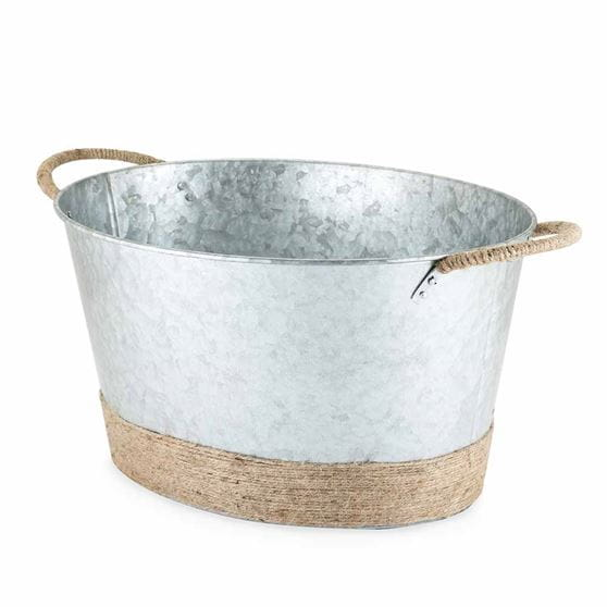Jute rope wrapped galvanized tub with a white background