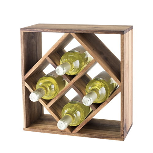 Acacia wood lattice wine rack with four bottles of wine and a white background