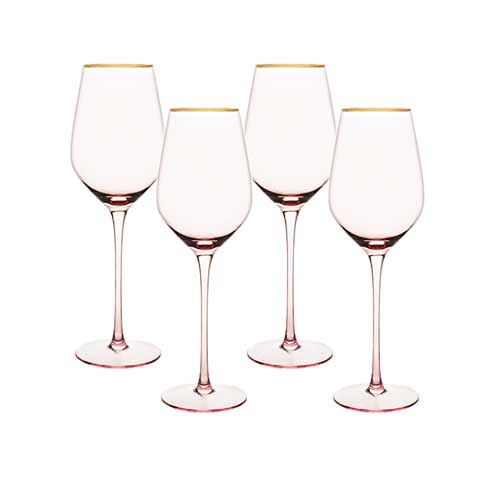 Rose crystal white wine glass set