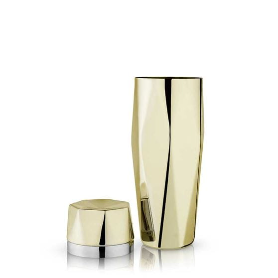 Apex faceted gold cocktail shaker with a white background