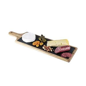 Slate and wood paddle with food contents