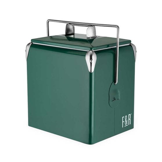 Green vintage metal cooler with a white background