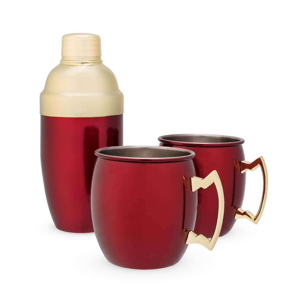 Red mule mug and cocktail shaker with white background